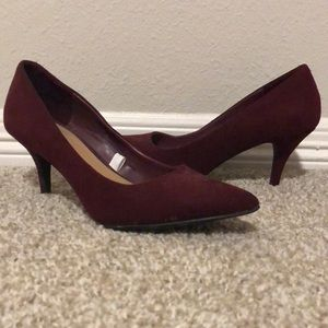 Dark cranberry colored 2 inch pumps